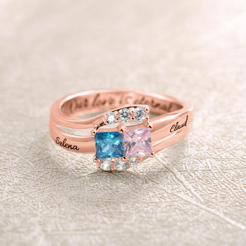 Engraved Two Birthstones Ring In Rose Gold