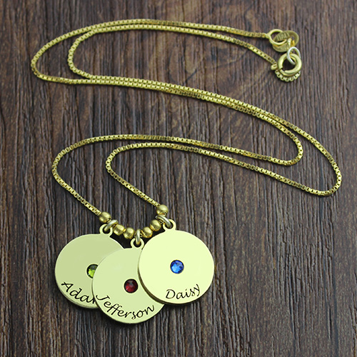 Mother's Disc and Birthstone Charm Necklace