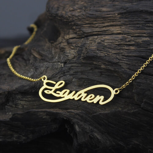 Unique Infinity Style Necklace Gold Plated