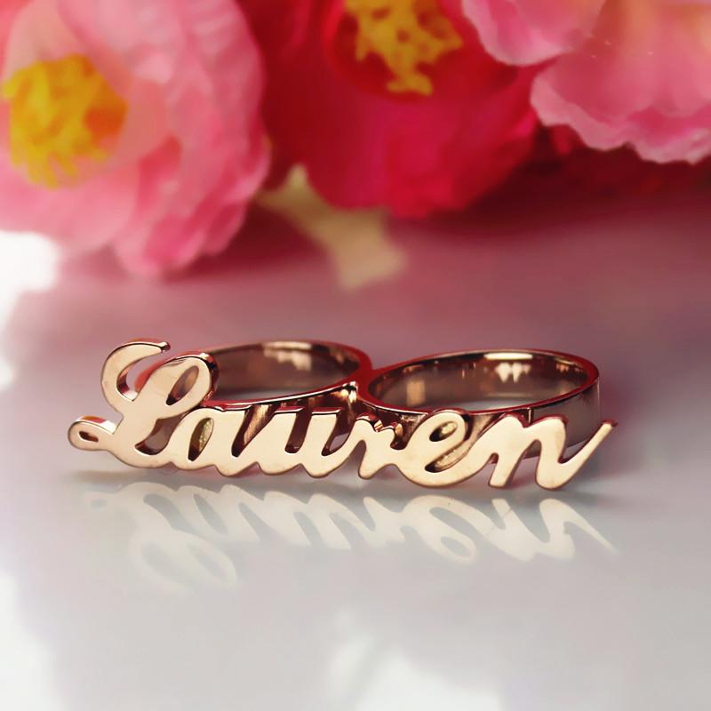 Custom Allegro Two Finger Nameplated Ring