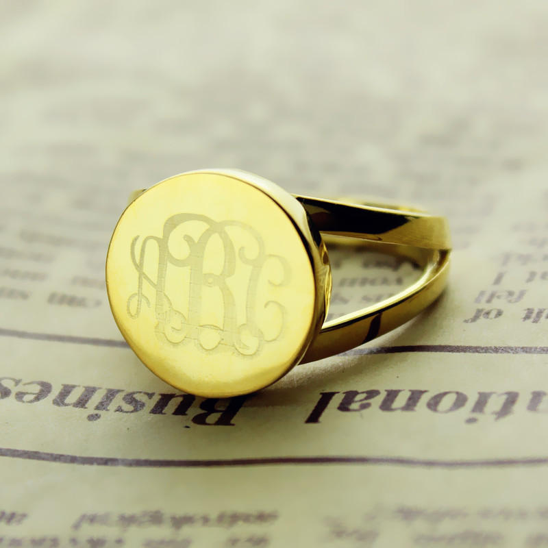 18K Gold Plated Circle Monogram Ring
