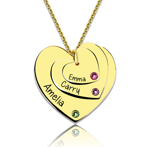 Triple Heart Necklace With Birthstones Gold Plated