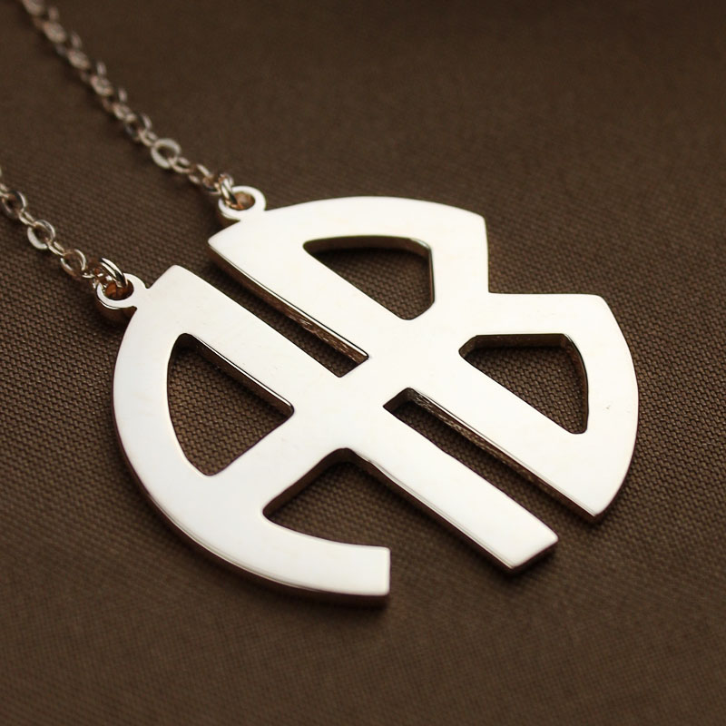 Two Initial Block Monogram Pendant Necklace