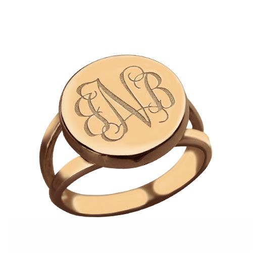 Rose Gold Circle Signet Monogram Ring