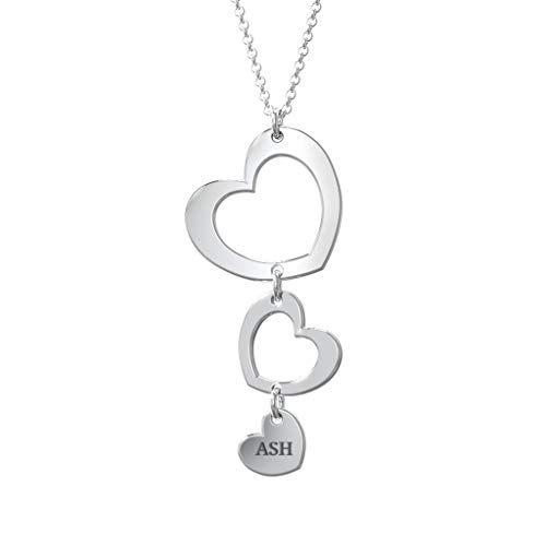 Three Heart Forever Name Necklace Sterling Silver