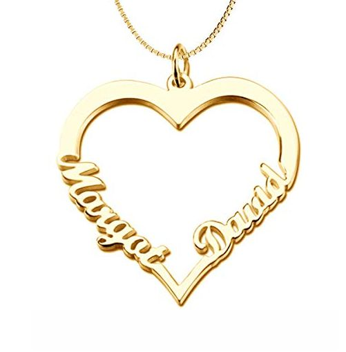 Love Heart Necklace With Two Names - Gold Plated