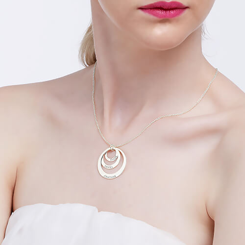 Three Disc Necklace for Mothers - Rose Gold