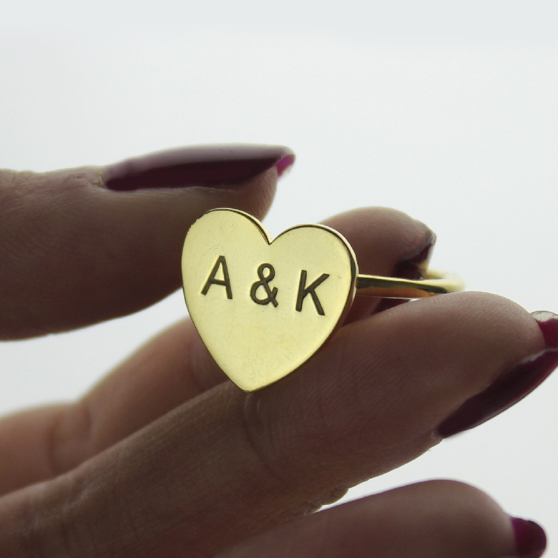 Engraved Sweetheart Ring with Two Initials
