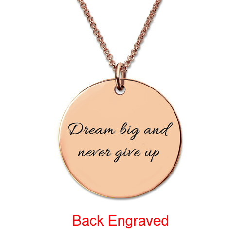 Rose Gold Disc Engraved Monogram Necklace