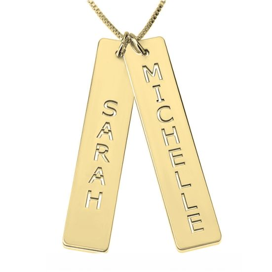 Engraved Vertical Bar Necklace with 18K Gold Plating