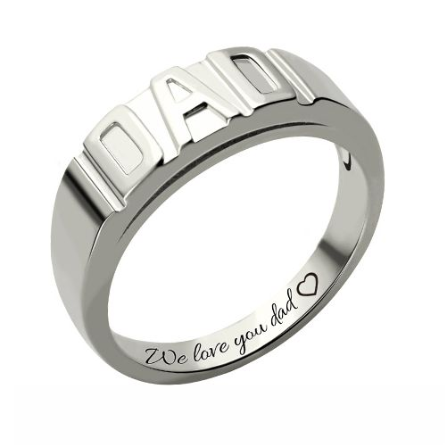 Personalized Men's DAD Ring Platinum Plated Silver