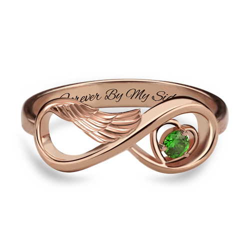 Angel Wing Infinity Heart Ring - Rose Gold