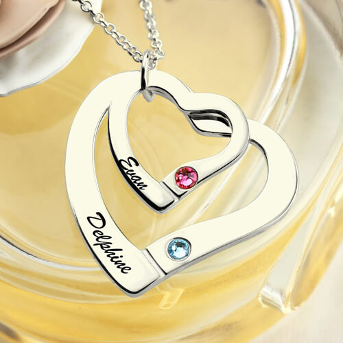 Double Hearts Necklace With Birthstones
