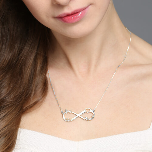 Heart Infinity Necklace 3 Names Sterling Silver