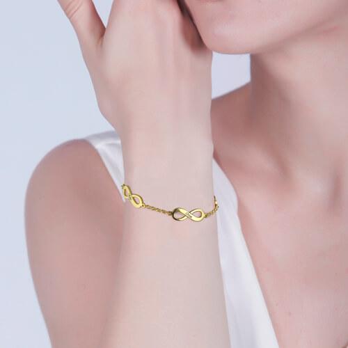 Personalized Triple Infinity Name Bracelet