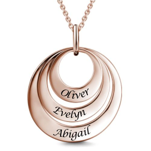 Engravable Three Disc Necklace Rose Gold Plated