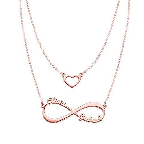 Heart Infinity Necklaces Set For Her Rose Gold
