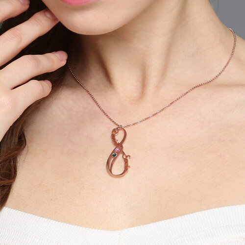 Vertical Infinity Necklace with Birthstones