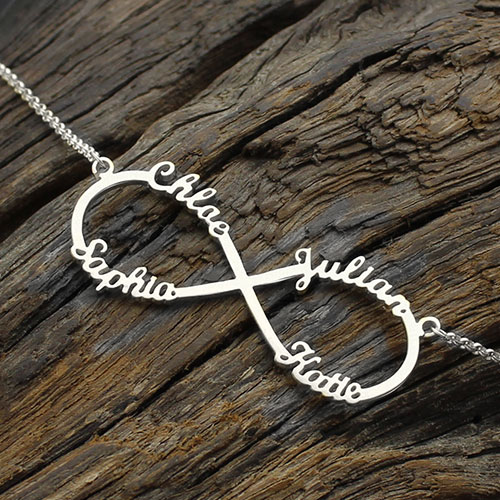 Personalized Moms Infinity Necklace - 4 Names