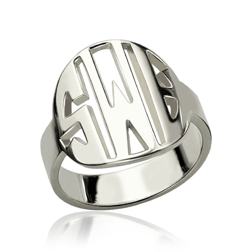 Personalized Cut Out Block Monogram Ring