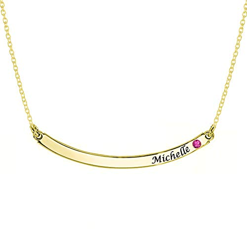 Personalized Gold Plated Curved Bar Necklace with Birthstone