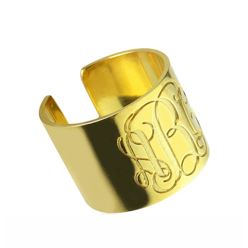 Script Monogram Cuff Ring 18K Gold Plated