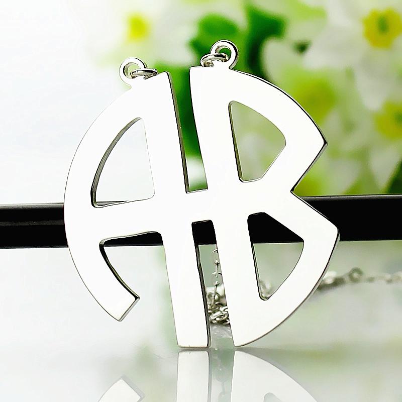 Personailzed Silver Two Initial Monogram