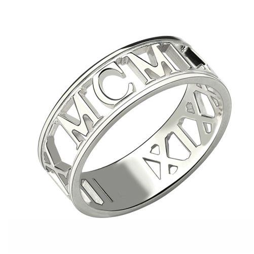 Custom Sterling Silver Roman Numerals Ring