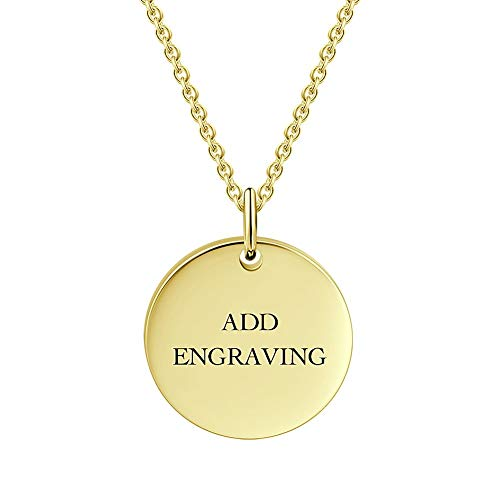 Circle Engraved Necklace 18K Gold Plated