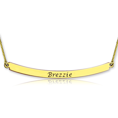 Personalized Gold Curved Bar Necklace