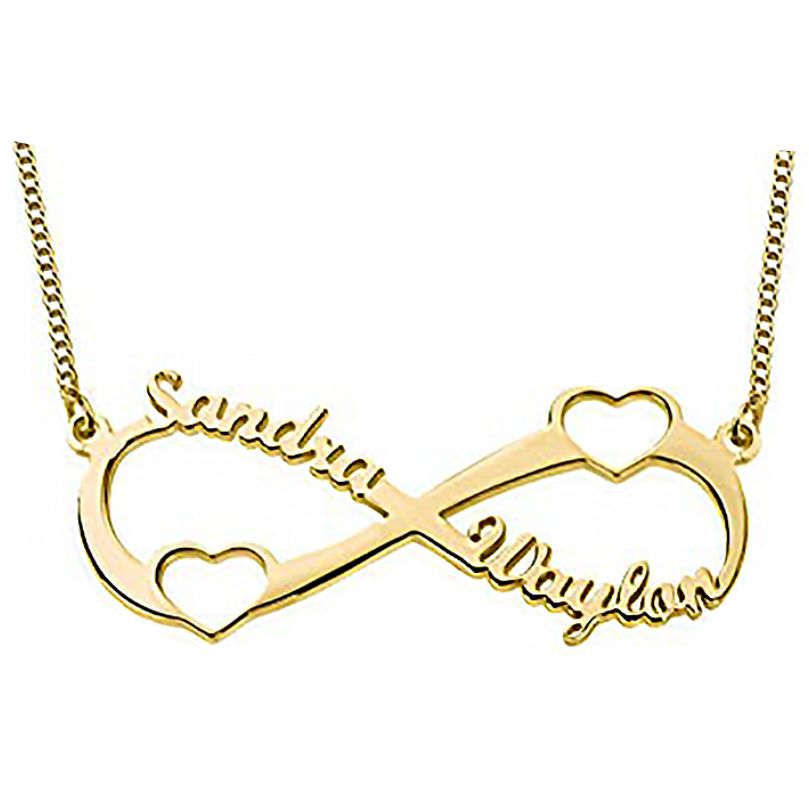 Hearts Infinity Necklace Gold Plated