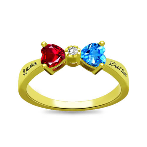 Custom Heart Birthstone Bow Ring Gold Plated