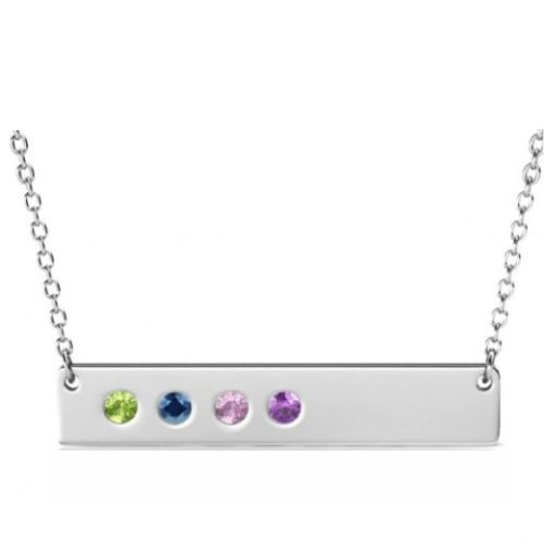 Silver Bar Necklace with Four Birthstones
