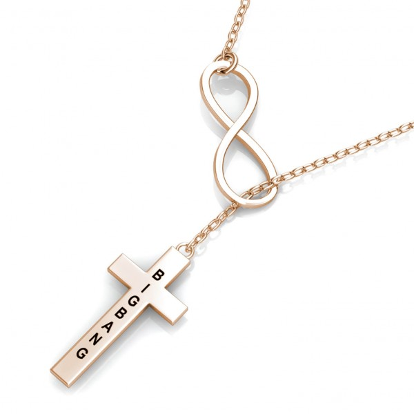 Cross Engraved Bar Necklace Rose Gold Plated
