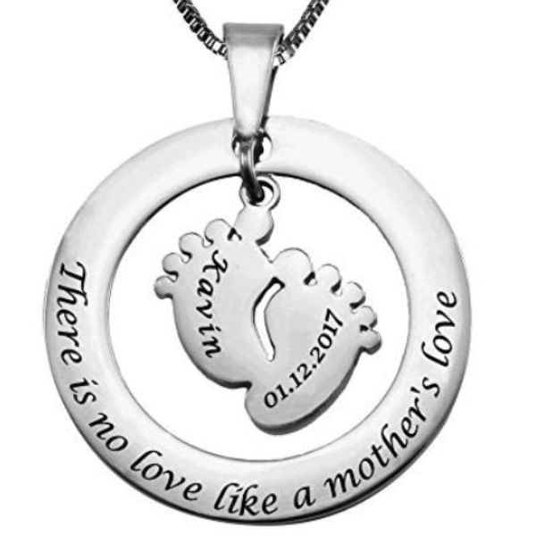 New Mom I Love You to the Moon and Back Silver Necklace