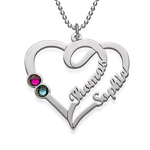 Couple Names Necklace with Birthstones - Sterling Silver