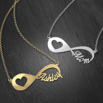 Heart Infinity Name Necklace 18k Gold Plated