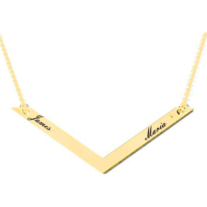 Curved Bar Name Pendant 18k Gold Plated