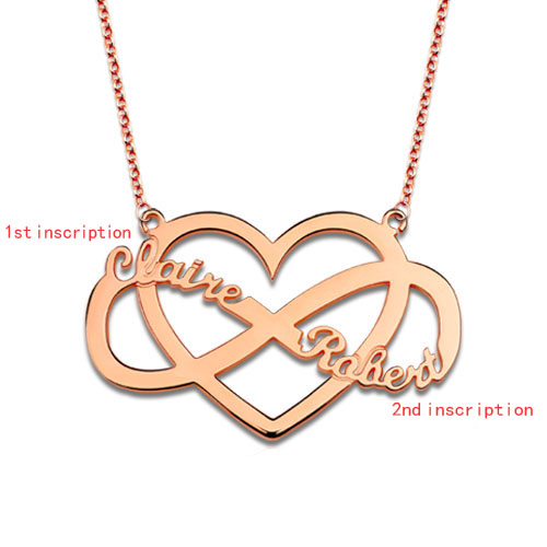 Infinity and Heart Name Necklace In Rose Gold