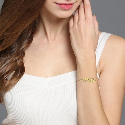 Infinity Two Names Bracelet Gold Plated Silver