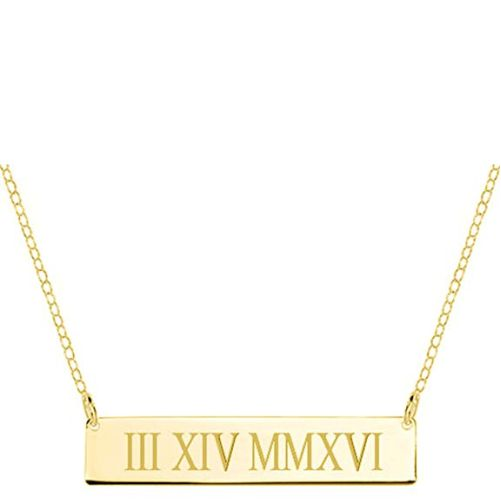 Roman Numeral Bar Necklace 18K Gold Plated