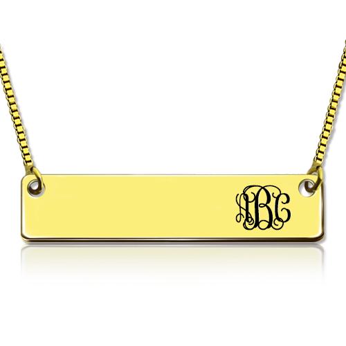 Personalized Gold Initial Bar Monogram