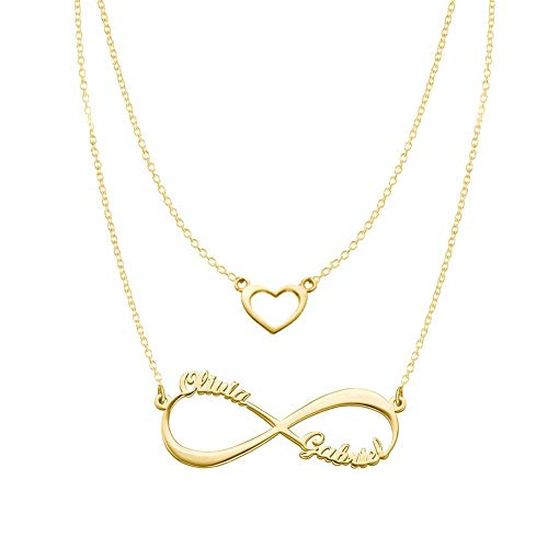 Heart Infinity Necklaces Set For Her Gold Plated