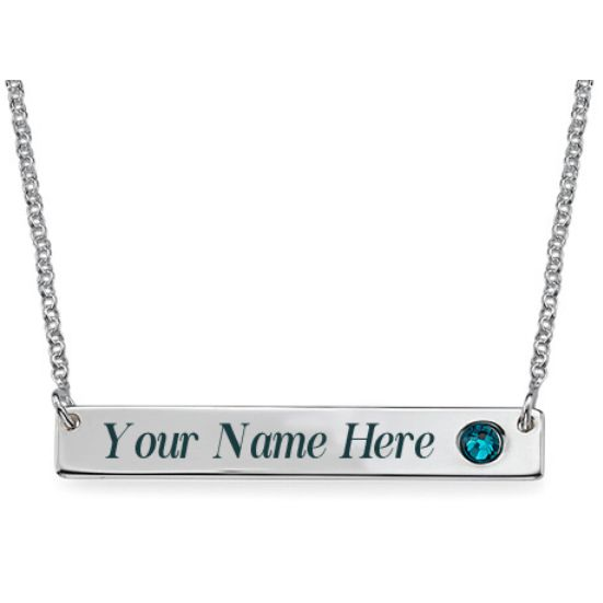 Silver Bar Necklace with Birthstone