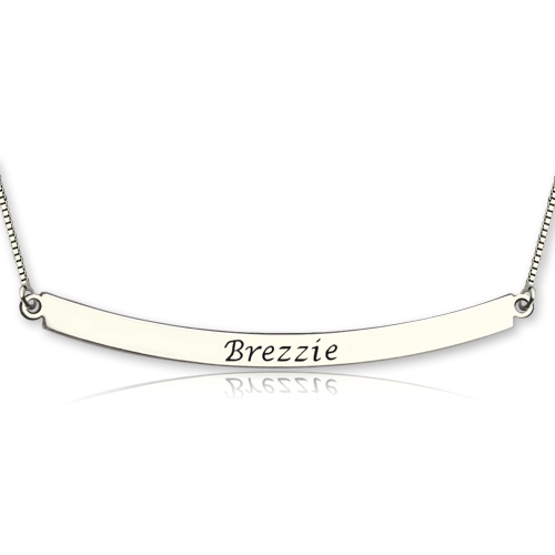 Curved Bar Pendant Necklace Sterling Silver
