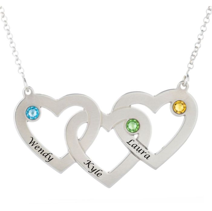 Intertwined Hearts Birthstones Necklace