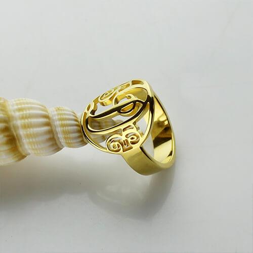 Script Framed Monogram Ring