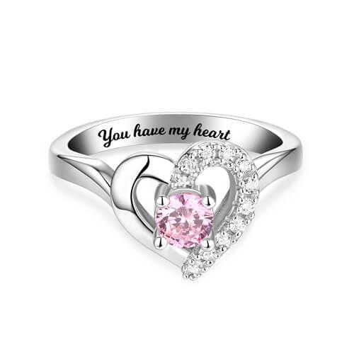 Custom Birthstone Heart Ring Sterling Silver