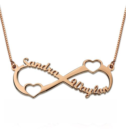 Double Heart Infinity Necklace In Rose Gold