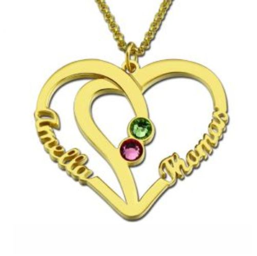 Heart Name Necklace Two Birthstones Gold Plated